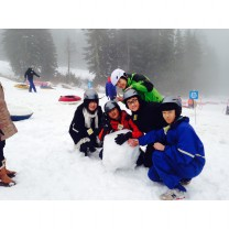 Making Snowmen on Mount Seymour, British Columbia